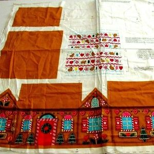 Fabric Panel Christmas Gingerbread House Cut Sew